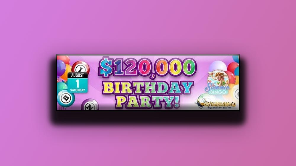 Win cash with CyberBingo birthday promo
