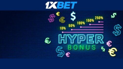 1xBET Sportsbook Hyper Bonus – Get a Bonus of Up to 250%